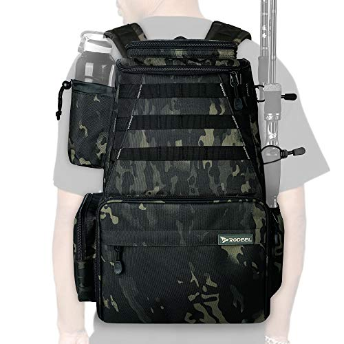 tackle bags 2 Rodeel Fishing Tackle Backpack 2 Fishing Rod Holders Without 4 Tackle Boxes,Large Storage,Backpack for Trout Fishing Outdoor Sports Camping Hiking