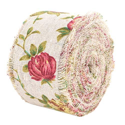 DIY Vintage Arpillera Cinta Rollo Rosa Flor Impreso Cinta de Yute Correa de Hesse correa de Tela de La Boda Decoración 10 m