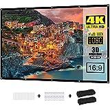 Proyector de pantalla de 100 pulgadas 16:9 HD, plegable, antiarrugas, soporta 3D, 1080P y proyección 4K, adecuado para...