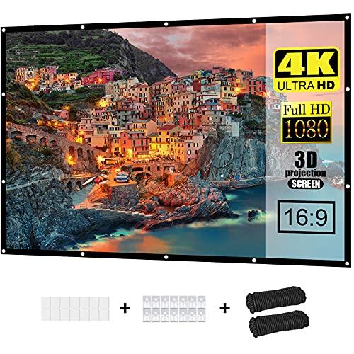Proiettore schermo da 100 pollici, 16:9, HD, pieghevole, anti-piega, supporta 3D, 1080p e 4K, adatto per home theatre, riunioni d'ufficio, educazione e cortile