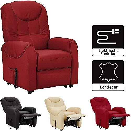 Cavadore TV-Sessel Basta mit Motor und Aufstehhilfe / Fernsehsessel mit elektrisch verstellbarer Rückenlehne und Fußstütze / 75 x 110 x 92 / Echtleder Rot