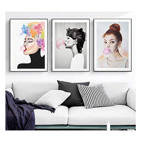 Suuyar Wandkunst Poster Drucke Blow Pink Bubbles Gum Frauen Leinwand Malerei Kunst Bild Für Wohnzimmer Home -50X70Cmx3Pcs No Frame