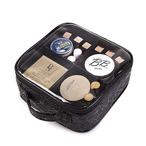 Trousse De Voyage Sac de haute qualité Femmes cosmétiques Pvc Mode Voyage de luxe de beauté Make Up Light Case grande capacité Zipper femelle sac de rangement (Color : Black)