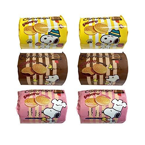 ウィズメタックフーズ スヌーピー クリームサンドビスケット 【レモン・チョコレート・ストロベリー】各2袋 計6袋セット