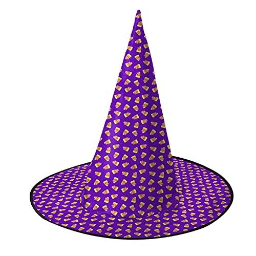Bonito caramelo de maz prpura lanzamiento Halloween Halloween bruja sombrero negro mago sombrero para adultos mujeres hombres Halloween traje accesorio fiesta
