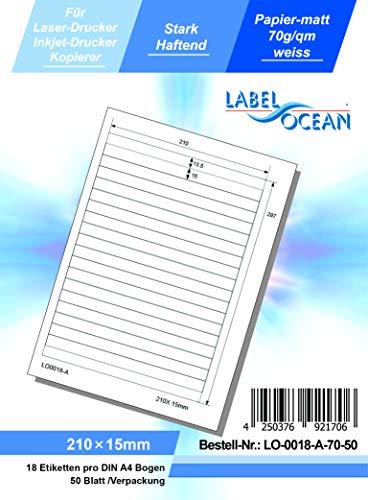 LabelOcean LO-0018-A-70-50 Universal Etiketten, 50 Blatt 70g/qm, Hochwertiges Papier