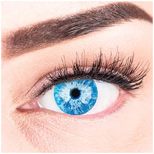 Farbige Blaue White Walker Kontaktlinsen Ice Blue Anime Cosplay Lenses Ohne Stärke - Stark Deckende und Intensive Farben mit gratis Kontaktlinsenbehälter für Halloween Fasching