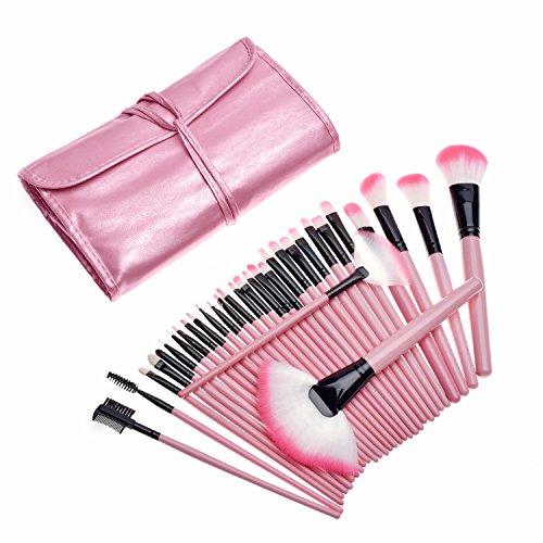 KanCai 32PCs Professional Makeup Brushes Set Synthetic Kakubi Cosmetic Foundation Blending Blush Eyeliner Face Powder Makeup Brush Kit with Leather Traverl Pouch Bag Case (Pink) by KanCai