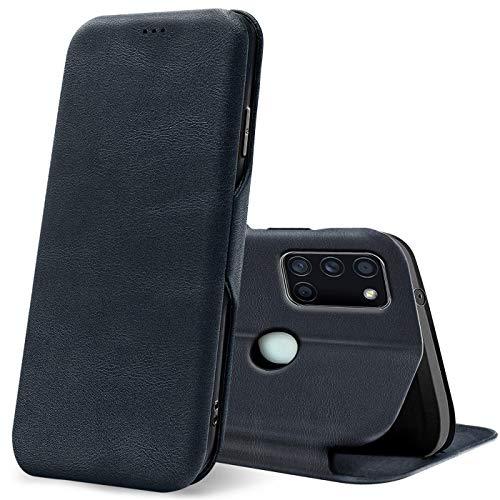 Verco Handyhülle für Samsung A21s, Bookstyle Premium Handy Flip Cover für Samsung Galaxy A21s Hülle [integr. Magnet] Book Case PU Leder Tasche, Blau