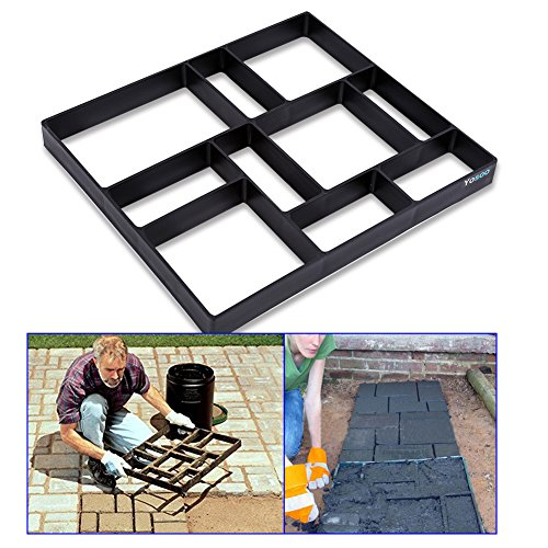GOTOTOP Garden Pavement Mold, 17.7 x 15.7 inch DIY Path Maker Mold Reusable Concrete Cement Stone Design Paver Walk Maker Mould for Paving Pavement Patio Walkway (Black)