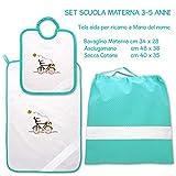 Coccole- Set asilo tela aida'bicicletta verde' - 3 pezzi: 1 bavaglino, 1 asciugamano e 1 sacca - verde - 3 mesi - 5 anni da ricamare con tela aida Scuola materna
