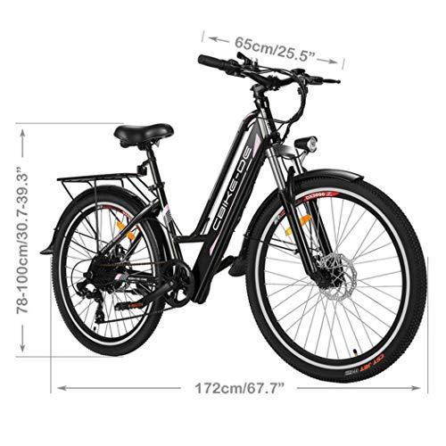 "Vivi 26"" Bici elettrica da Città/Trekking/Montagna, Batteria agli ioni di Litio da 36V/8Ah, Bici elettrica a 7 velocità da 250 W, Bicicletta elettrica per Donna Uomo"