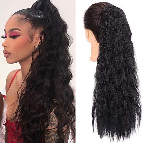 CTRLALT Long Corn Wave Ponytail Extension Magic Paste Heat Resistant Wavy Synthetic Wrap Around Ponytail Black Hairpiece for Women Girls (1B)