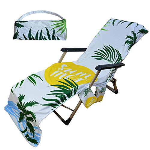 Beach Towel Home Fashions Beach Shawl Summer Coconut Palm Leaf Beach Lounge Pool Chair Cover Towel with 3 Fitted Pockets, Foldable, No Chair(85' L x 30' W)