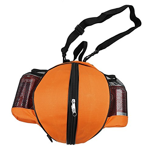 FoRapid Size 7 (29.5') Basketball Bag Soccer Ball Football Volleyball Softball Sports Ball Bag Holder Carrier+Adjustable Shoulder Strap 2 Side Mesh Pockets f/ Water Bottle Towel Sports Shoes (Black)