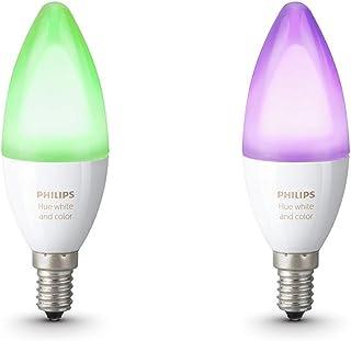 Philips Hue Hue Pack 2 Bombillas Inteligentes LED E14, Luz Blanca, Compatible con Alexa y Google ...