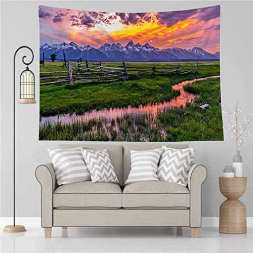 Tapiz de Parque Nacional Vikes, Golden Fiery Sunset at Grand Teton, Tapiz para colgar en la pared para sala de estar, dormitorio, decoración del hogar, 203 x 152 cm