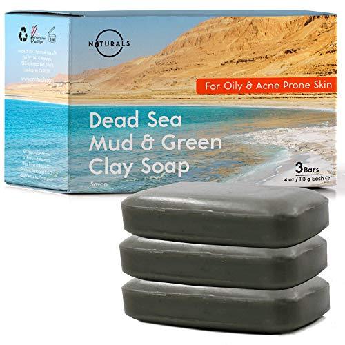 O Naturals Pastillas de Jabón de Arcilla Verde al Barro del Mar Muerto y Aceites Esenciales Aceite de Coco, Limpiador Facial, Quita Puntos Negros, Limpiador de Poros, Jabón Manos y Barba, 3x115 gr.