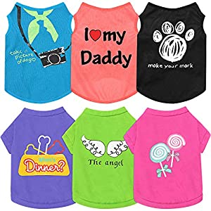 6 Pieces Pet Breathable Shirts Printed Puppy Shirts Dog Sweatshirts Soft Pet T-Shirts Puppy Dog Clothes Cute Pet Apparels for Pet Dogs and Cats (Camera and Lollipop,M Size)