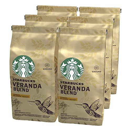Starbucks VERANDA BLEND Blonde Roast Filterkaffee, Röstkaffee gemahlen, Milde Röstung, (6 x 200g)