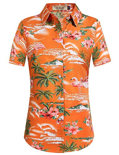 SSLR Damen Hawaiihemd Hawaii Bluse Kurzarm Flamingos 3D Gedruckt Freizeit Lose Aloha Shirts Tops für Strand Reise (Large, Orange)