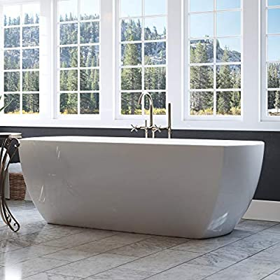 Luxury 67 Inch Modern Freestanding Tub with Curverd Rectangular Design and Integrated White Drain, from the Bloomfield Collection