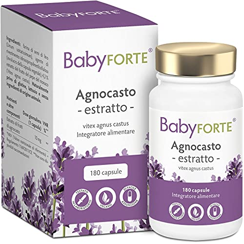 BabyFORTE Integratore Agnocasto - 100 % vegano - Vitex Agnus Castus per Ciclo Mestruale - Ciclo integratore donna - 180 capsule