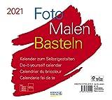 Foto-Malen-Basteln Bastelkalender quer weiß 2021: Fotokalender zum Selbstgestalten. Do-it-yourself Kalender mit festem Fotokarton. Format: 24 x 21,5 cm