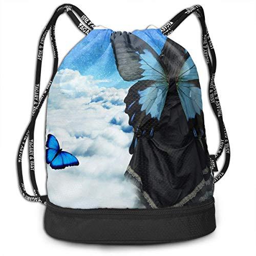 1Zlr2a0IG Multifunctional - Surreal Butterfly Art Landscape 3D Print Drawstring Backpack - Portable Shoulder Bags Travel Sport Gym Bag - Yoga Runner Daypack Shoe Bags