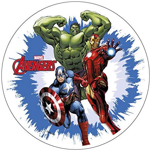 Avengers Iron Man Hulk Capitán América 20 cm oblea comestible para decoración de tartas. Producto con licencia. Modecor.