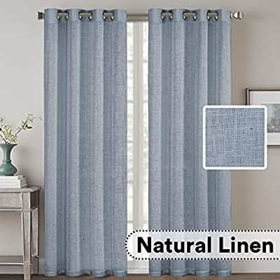 Living Room Linen Curtains Home Decorative Nickel Grommet Curtains Privacy Added Energy Saving Light Filtering Window Treatments Draperies for Bedroom, Stone Blue, 2 Panels, 52 x 108 - Inch