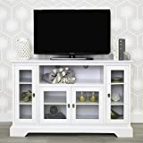 Walker Edison Traditional Wood Universal Stand for TV's up to 58' Flat Screen Living Room Entertainment Center, 52 Inch, White