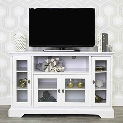 Walker Edison Furniture Company Traditional Wood Universal Stand for TV's up to 58' Flat Screen Living Room Entertainment Center, 52 Inch, White