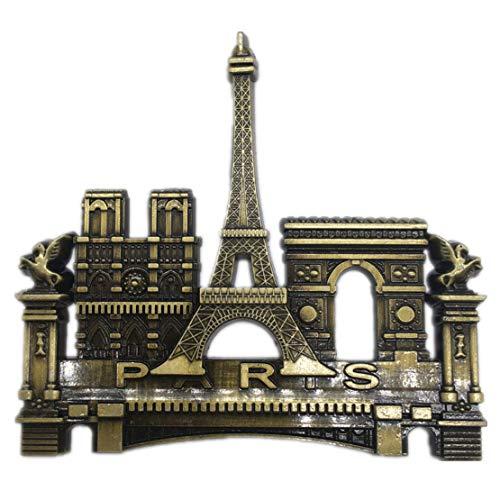 Weekinglo Souvenir Torre Eiffel Notre Dame de Paris Arco de Triunfo Imán de Nevera de París 3D Metal Artesanía Hecha a Mano Turista Viaje Ciudad Recuerdo Colección Carta Etiqueta en el refrigerador