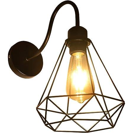 Applique Murale Interieur Vintage, Industrielle Lampe Murale LED, E27 Rétro Luminaire Mural pour Bar, Café, Chevet, Escalier, Couloir, Douilles