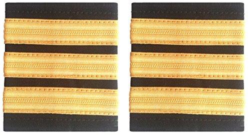 Schulterklappe, 1 goldfarbener Streifen auf Schwarz, für Piloten, Marine (Paar)