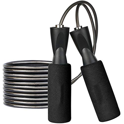 Ytnqd Jump Rope, Angle-Free Ball Bearing Fast Rope Skipping Adjustable Memory Foam Anti Skid Handle Skipping Rope New Fitness Speed Rope for Men and Women Suitable (Dark Black)