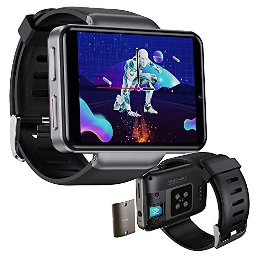 HQPCAHL Reloj Inteligente 4G Smartwatch Pantalla de 2,41' Reloj Teléfono con Face ID Cámara Doble 2080mAh GPS Fitness Trackers Llamada telefónica Frecuencia Cardíaca Reloj Deportivo,Negro,3GB+32GB