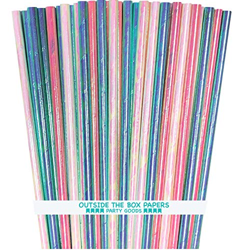 Iridescent Paper Straws - Pink Blue Green White - 7.75 Inches - 75 Pack