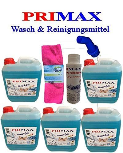 5 x 5 Liter Primax Flüssigwaschmittel + 500 Gramm Waschkraftverstärker, Microfasertuch und Ausgießer