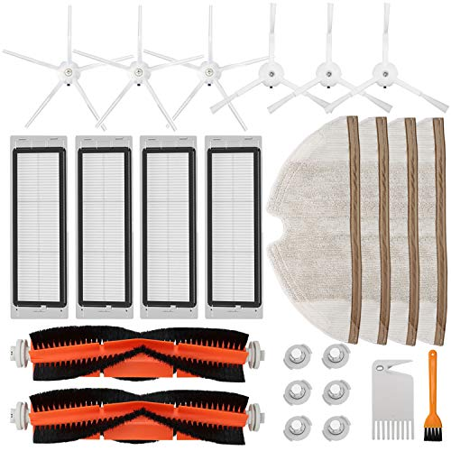 Accessories Kit for Roborock S5 S6 E20 E25 E35 S50 Xiaomi Mi Mijia Robotic Vacuum Cleaner, 22 Pack Replacement Parts, 2 Main Brush, 6 Side Brush, 4 Hepa Filter, 4 Mop Cloth & 6 Water Tank Filter