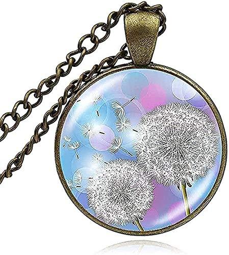 NC66 Collar Collar con dijes de Diente de león Collar de la Suerte Wish Flowers Art Printed Glass Dome Plant Colgante