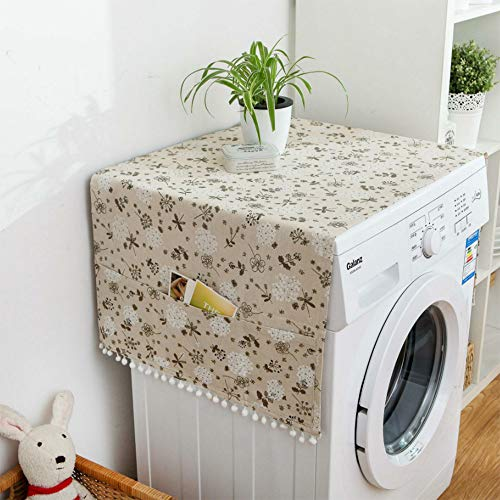 MF2FLAY Fridge Dust Proof Cover Multi-Purpose Washing Machine Top Cover with Refrigerator Storage Organizer Bags-Light Brwon