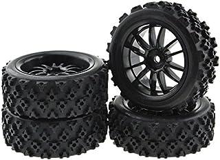 JIUWU 4pcs RC 1:10 Rubber Tires Car Crossing Wheels Rims Hex 12MM Black