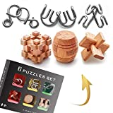Brain Teaser Metal and Wooden Puzzles 6 Pack by Estar -3D Mind, IQ and Logic Test and Handheld Disentanglement Games - Jigsaw Game for Party Favor Kids Adults Challenge