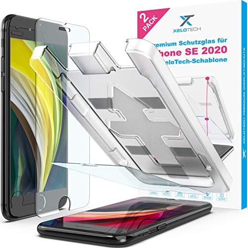 XeloTech 2X Panzerglas für iPhone SE 2 2020 und iPhone 8/7/6/6s mit Schablone zur Positionierung - Displayschutzfolie aus 9H Glas - Mit Hülle kompatibel
