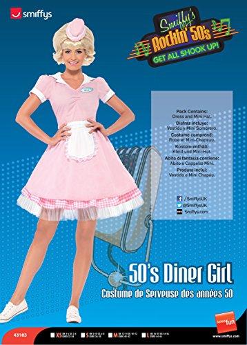 Smiffys, Damen 50er Diner Serviererin Kostüm, Kleid und Mini-Hut, Größe: S, 43183