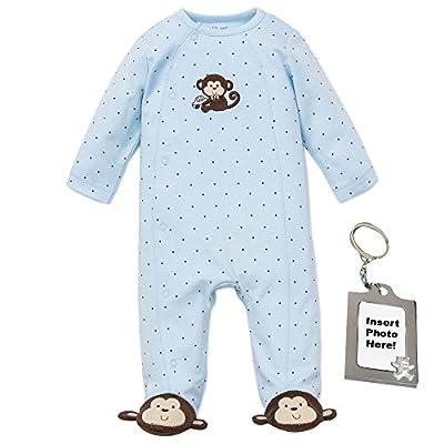 Little Me Sleepwear Boys Footie Footed Sleeper & Keychain Blue Monkey 9M
