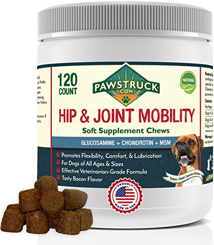 Pawstruck Glucosamine for Dogs (120 Count) Hip & Joint Supplement - Soft Chewable Vitamin with Chondroitin, Omega-3 Fatty Acids & MSM for Dog Arthritis Health, Made in USA