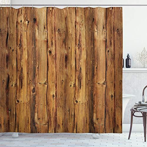ABAKUHAUS Rustikal Duschvorhang, Holzwald Bäume Kunst, Seife Bakterie Schimmel & Wasser Resistent inkl. 12 Haken & Farbfest, 175 x 240 cm, Braun